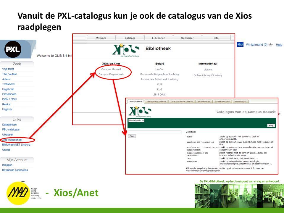 Vanuit de PXL-catalogus kun je ook de catalogus van de Xios raadplegen