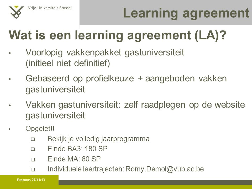 Learning agreement (2) Hoe LA opstellen