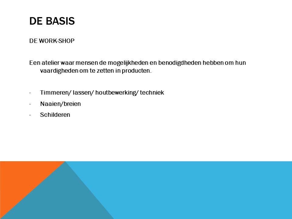 De Basis DE WORK-SHOP. Een atelier waar mensen de mogelijkheden en benodigdheden hebben om hun vaardigheden om te zetten in producten.