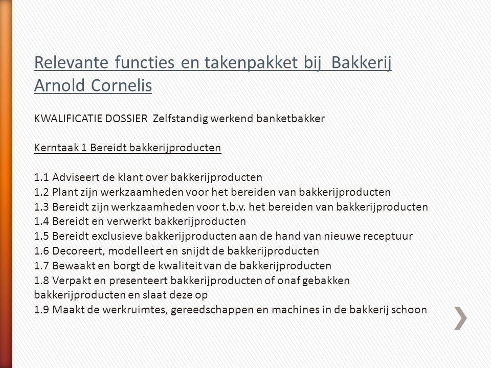 Relevante functies en takenpakket bij Bakkerij Arnold Cornelis