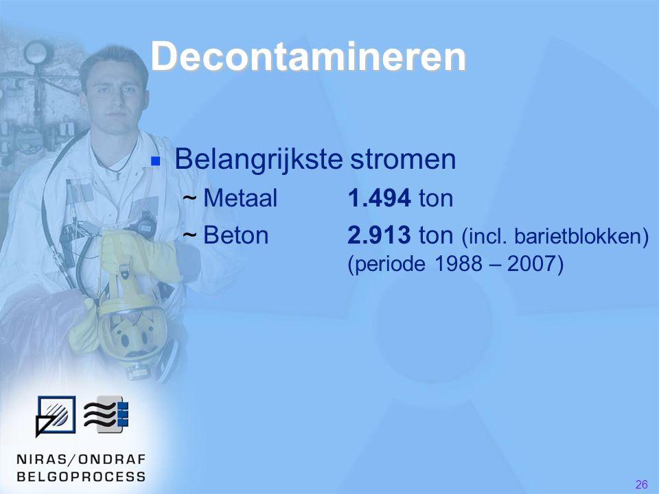 Decontamineren Belangrijkste stromen Metaal 1.494 ton