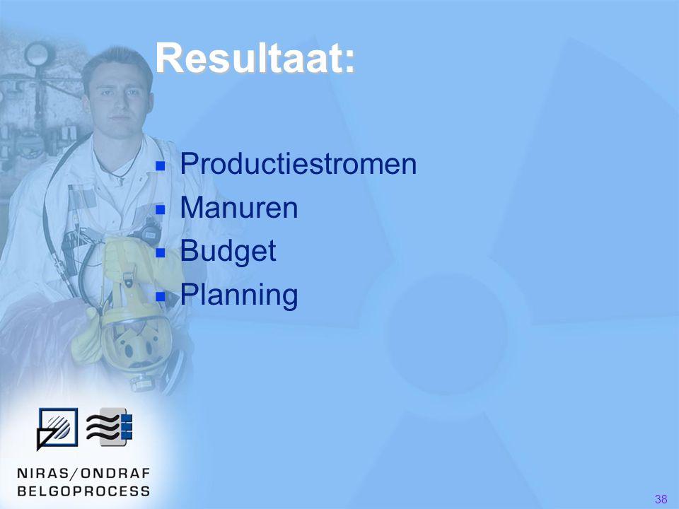 Resultaat: Productiestromen Manuren Budget Planning