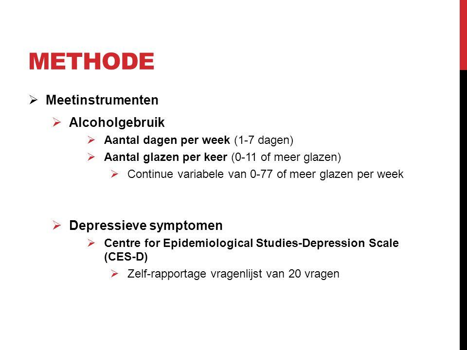 Methode Meetinstrumenten Alcoholgebruik Depressieve symptomen