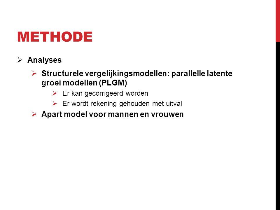 Methode Analyses. Structurele vergelijkingsmodellen: parallelle latente groei modellen (PLGM) Er kan gecorrigeerd worden.