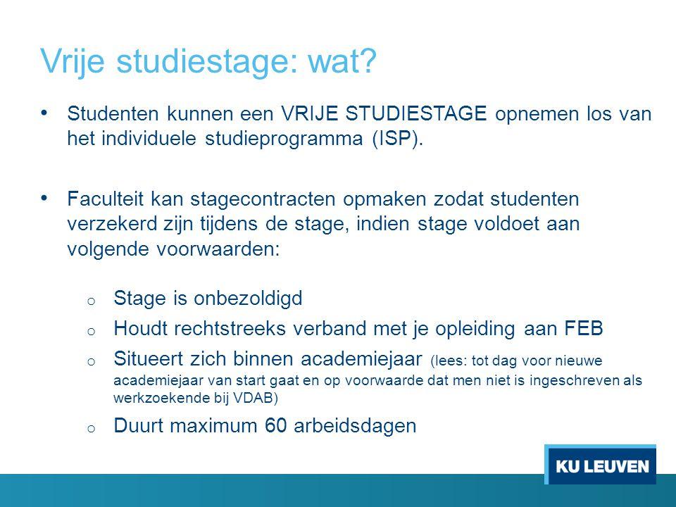 Vrije studiestage: wat