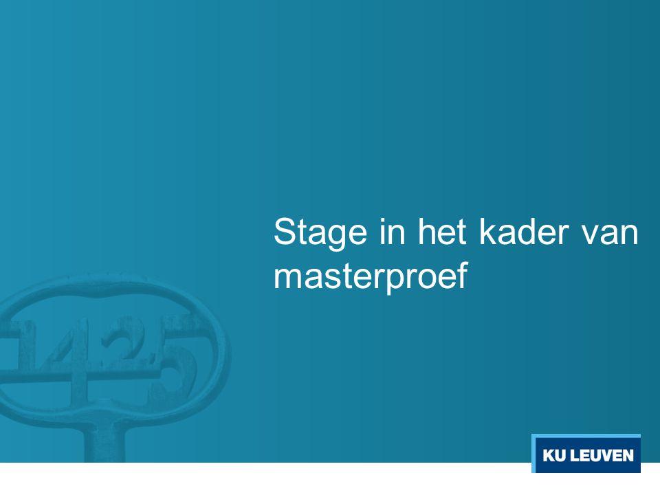 Stage in het kader van masterproef