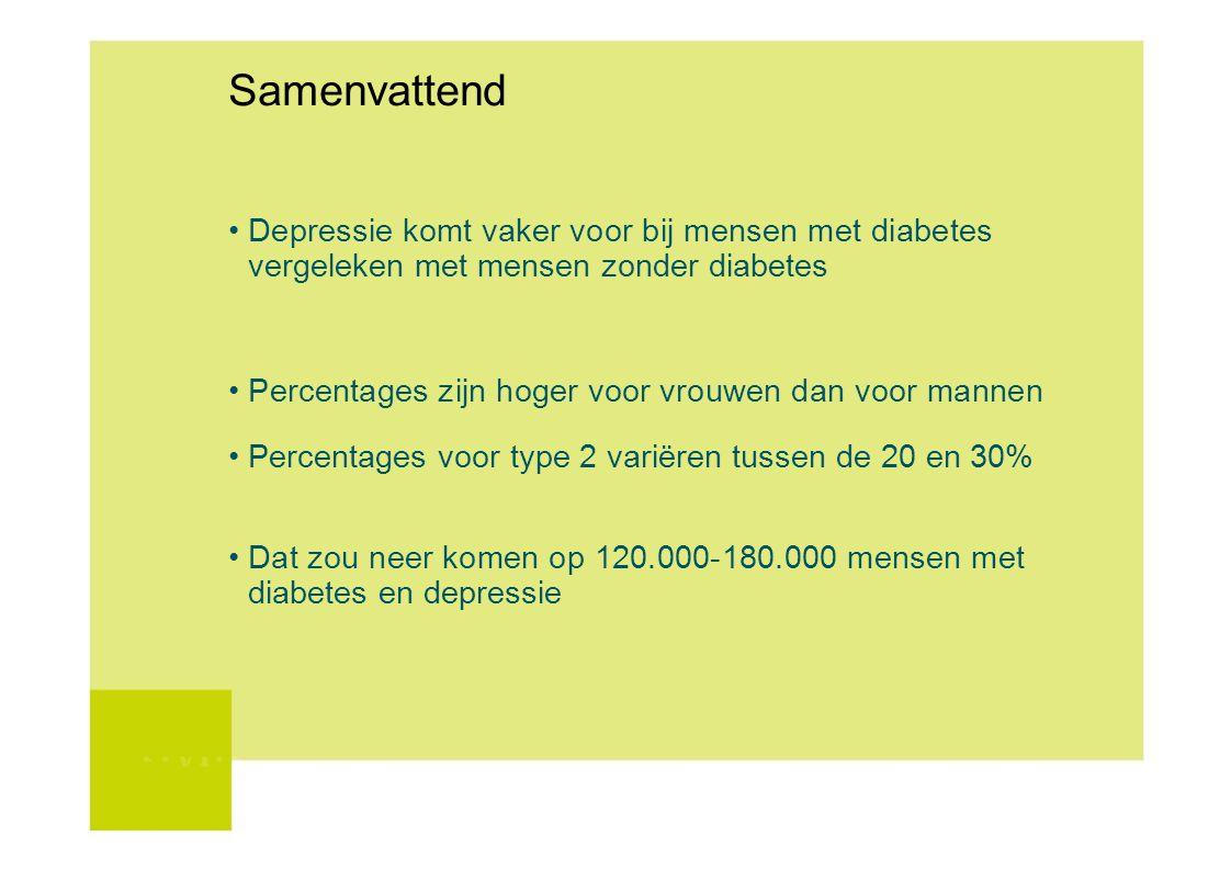 Samenvattend • Depressie komt vaker voor bij mensen met diabetes vergeleken met mensen zonder diabetes.