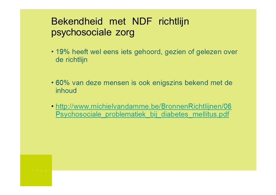 Bekendheid met NDF richtlijn psychosociale zorg