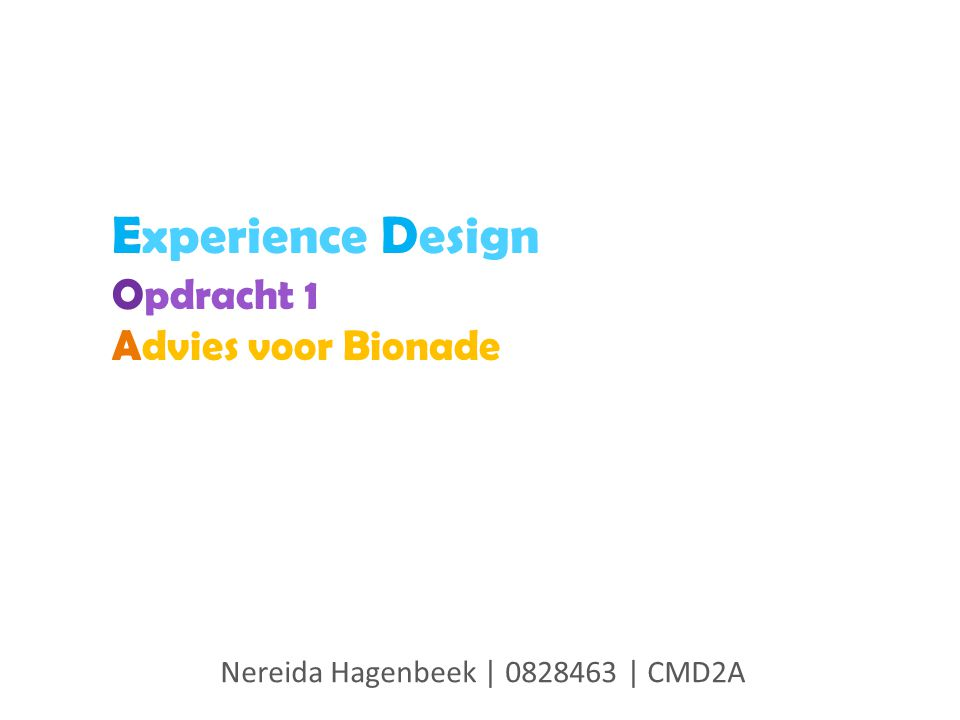 Experience Design Opdracht 1 Advies voor Bionade