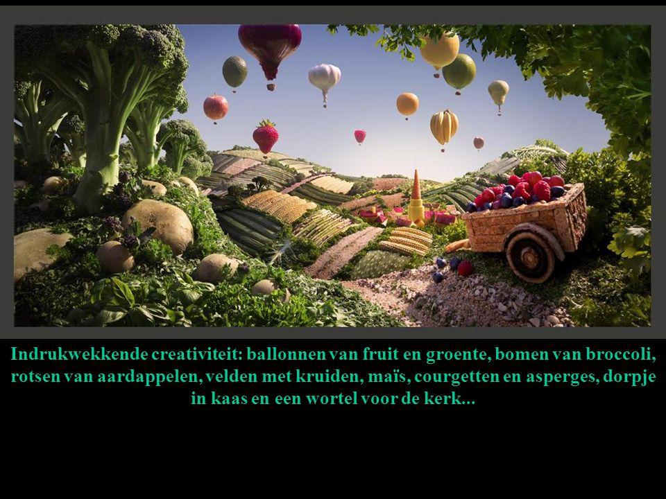 Indrukwekkende creativiteit: ballonnen van fruit en groente, bomen van broccoli, rotsen van aardappelen, velden met kruiden, maïs, courgetten en asperges, dorpje in kaas en een wortel voor de kerk...