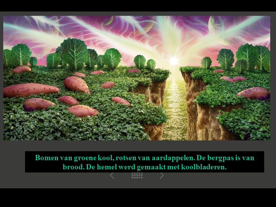 Bomen van groene kool, rotsen van aardappelen. De bergpas is van brood