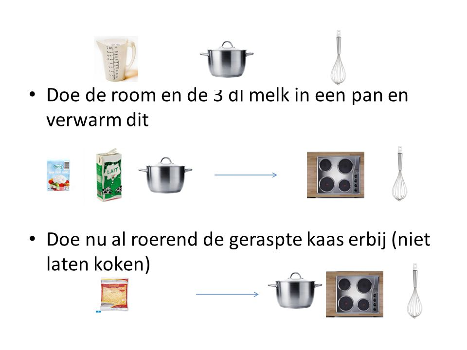 Doe de room en de 3 dl melk in een pan en verwarm dit