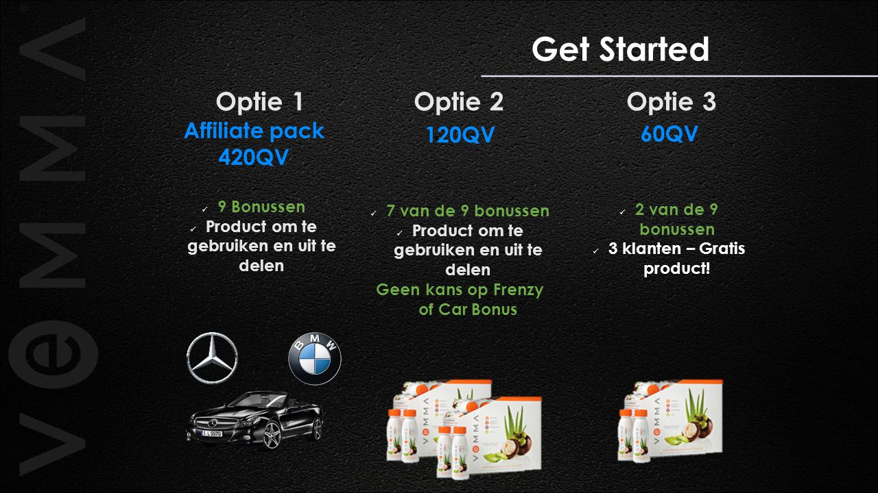 Get Started Optie 1 Optie 2 Optie 3 Affiliate pack 120QV 60QV 420QV