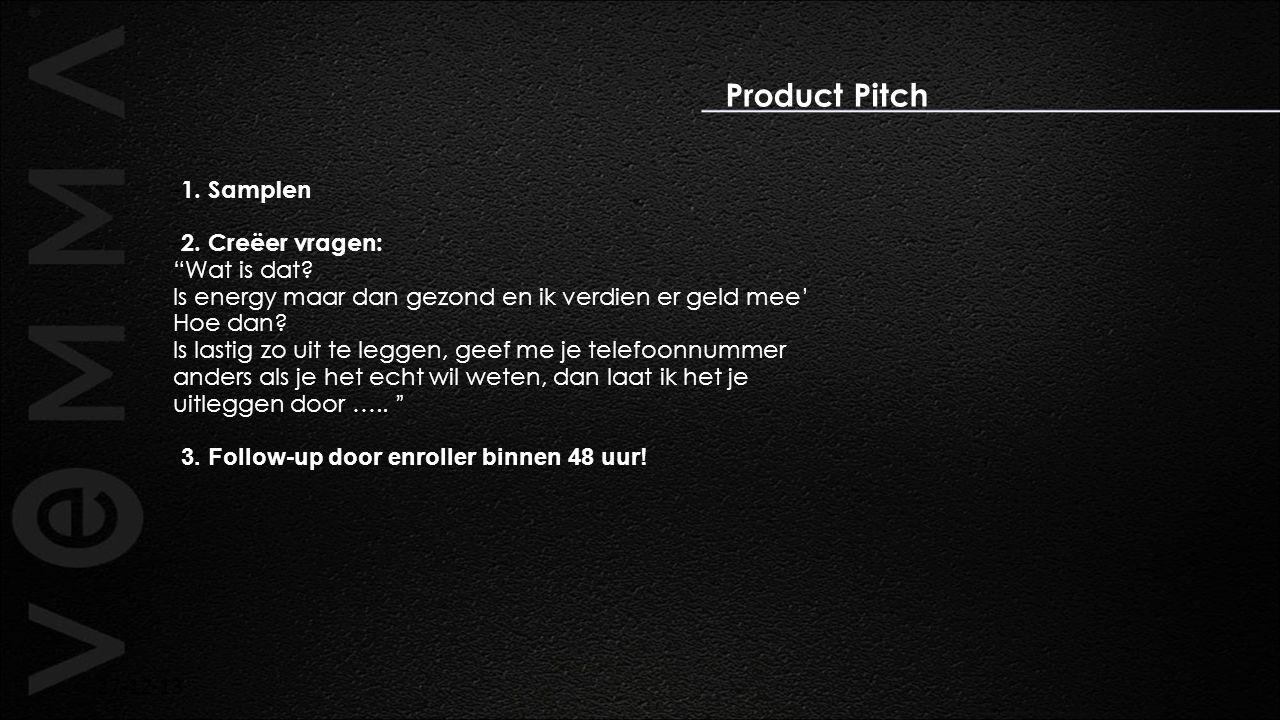Product Pitch 1. Samplen 2. Creëer vragen: Wat is dat