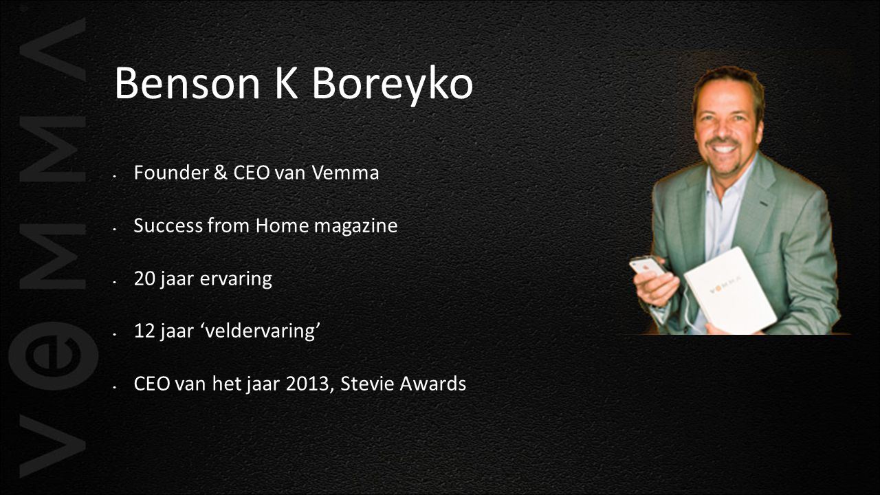Benson K Boreyko Founder & CEO van Vemma Success from Home magazine