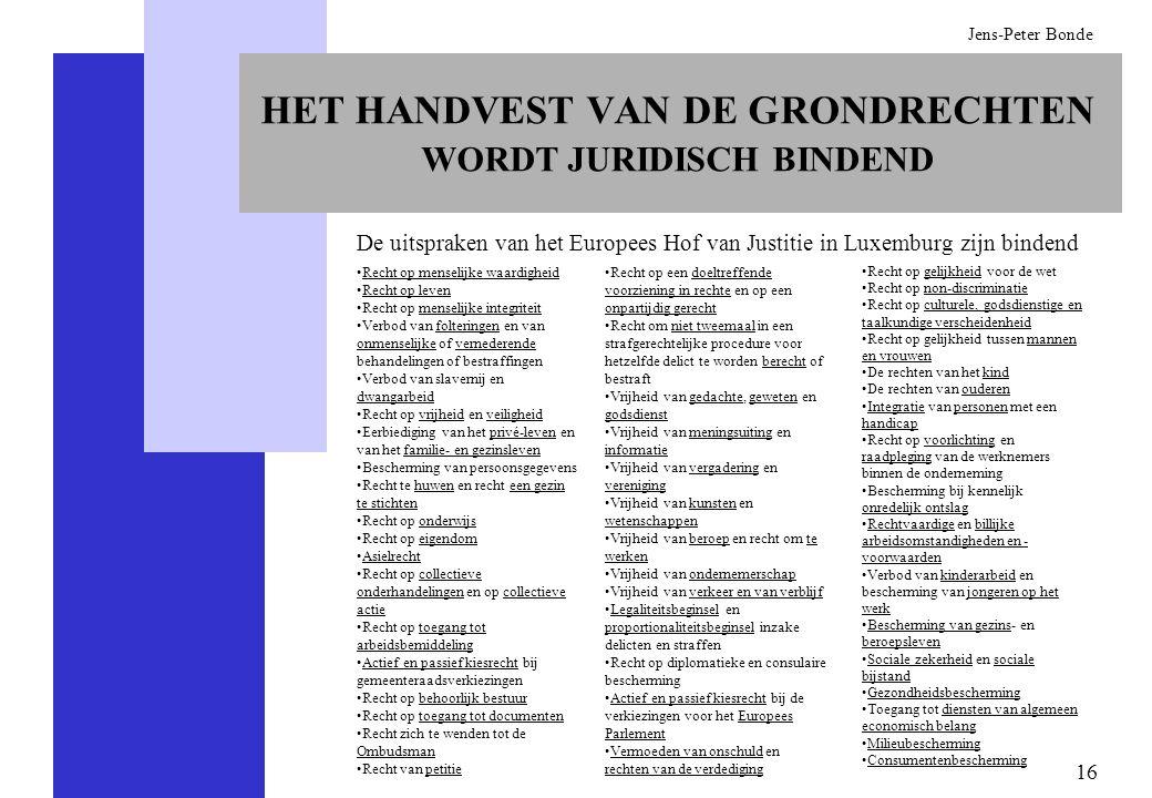 HET HANDVEST VAN DE GRONDRECHTEN WORDT JURIDISCH BINDEND