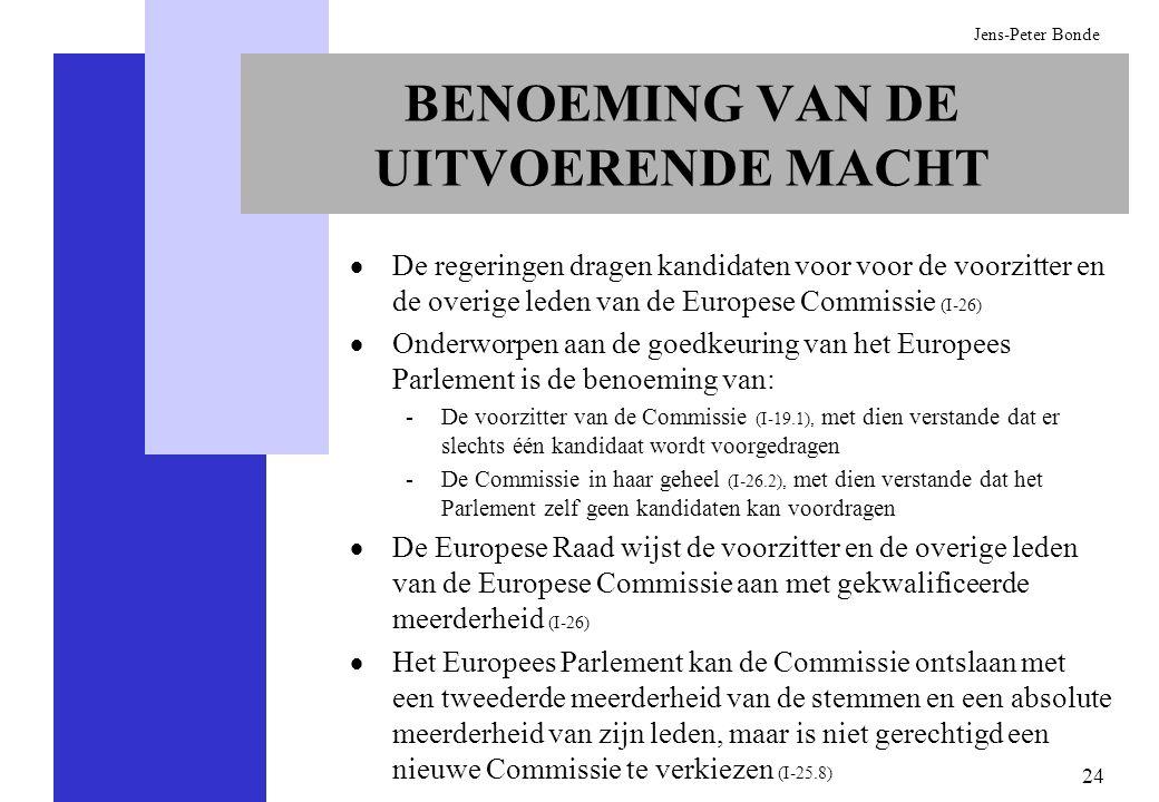 BENOEMING VAN DE UITVOERENDE MACHT