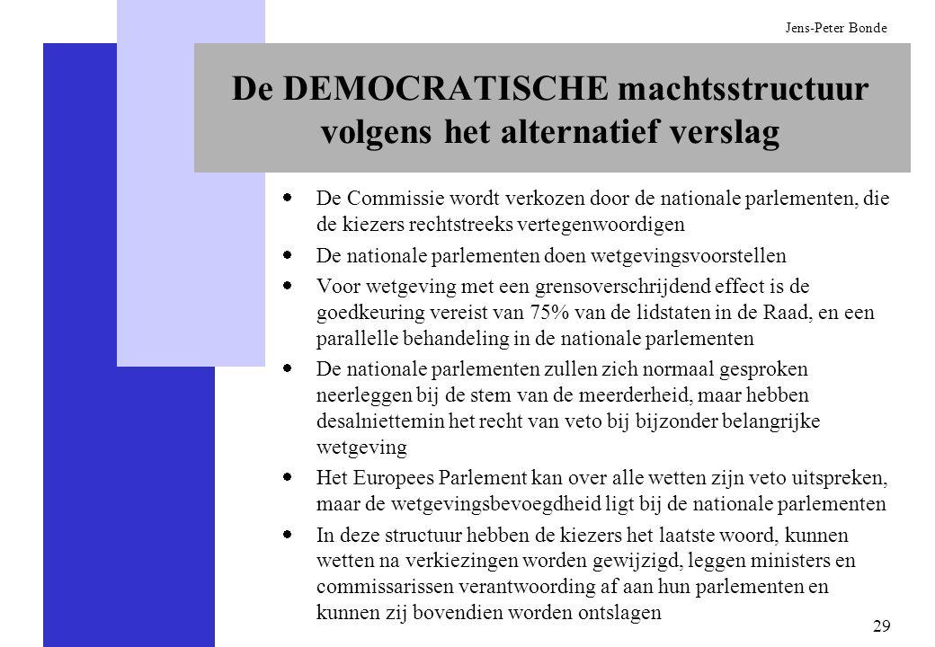 De DEMOCRATISCHE machtsstructuur volgens het alternatief verslag