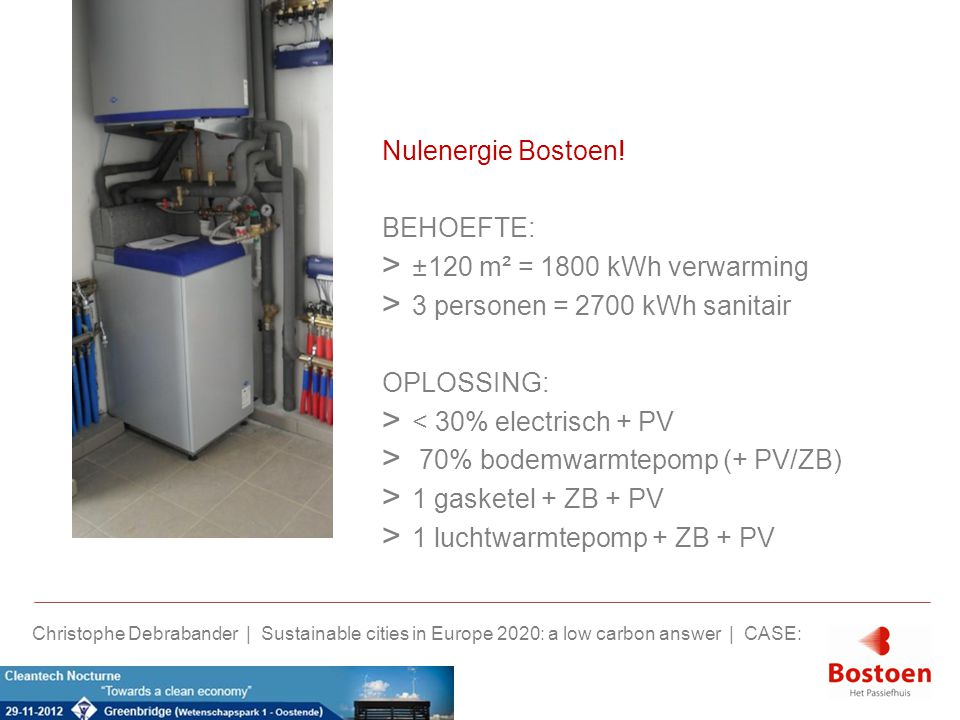 3 personen = 2700 kWh sanitair OPLOSSING: < 30% electrisch + PV