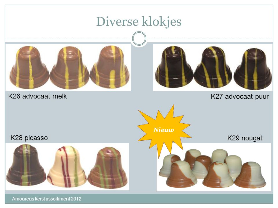 Diverse klokjes K26 advocaat melk K27 advocaat puur K28 picasso