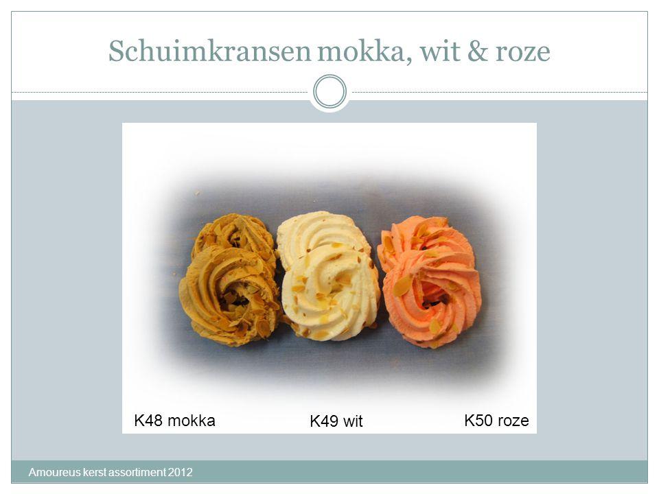 Schuimkransen mokka, wit & roze