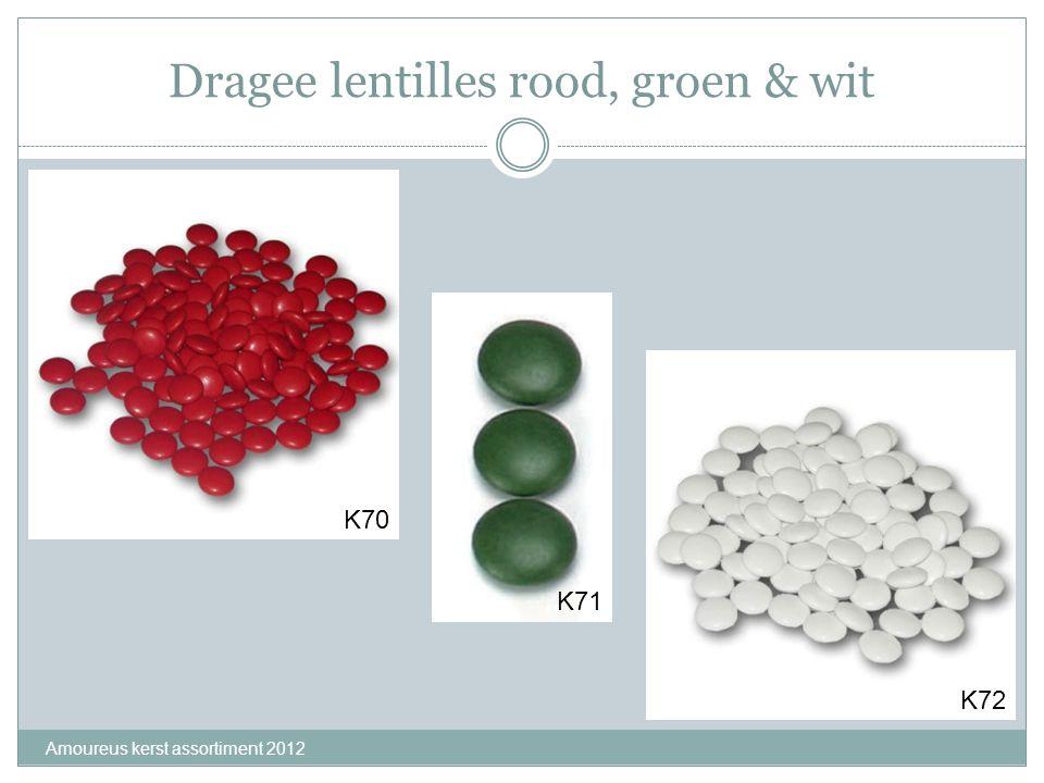 Dragee lentilles rood, groen & wit