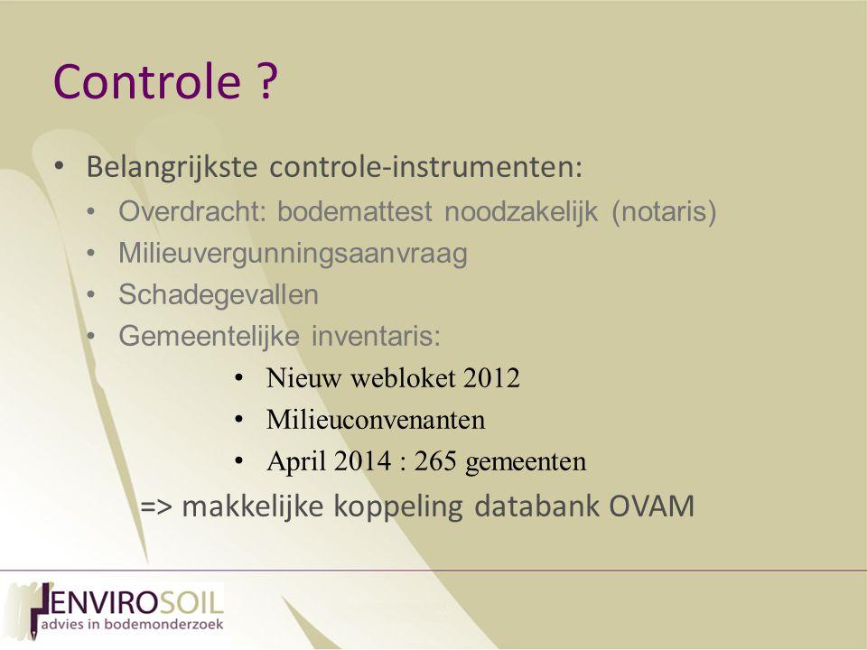 Controle Belangrijkste controle-instrumenten: