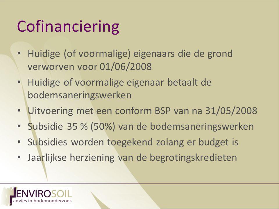 Cofinanciering Huidige (of voormalige) eigenaars die de grond verworven voor 01/06/2008.