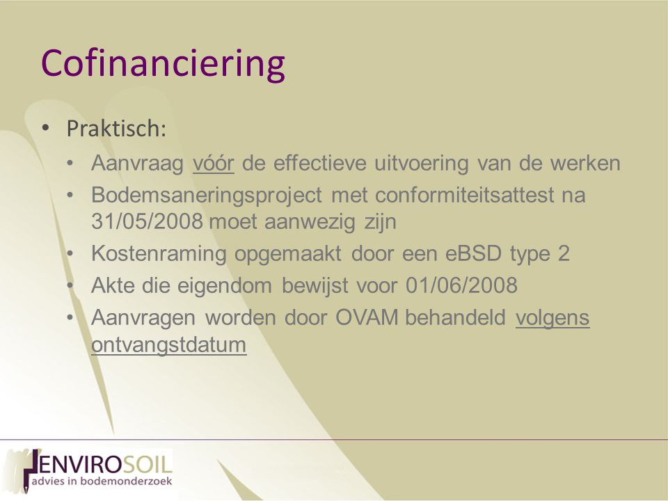 Cofinanciering Praktisch: