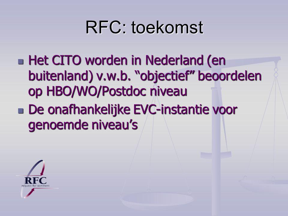 RFC: toekomst Het CITO worden in Nederland (en buitenland) v.w.b. objectief beoordelen op HBO/WO/Postdoc niveau.