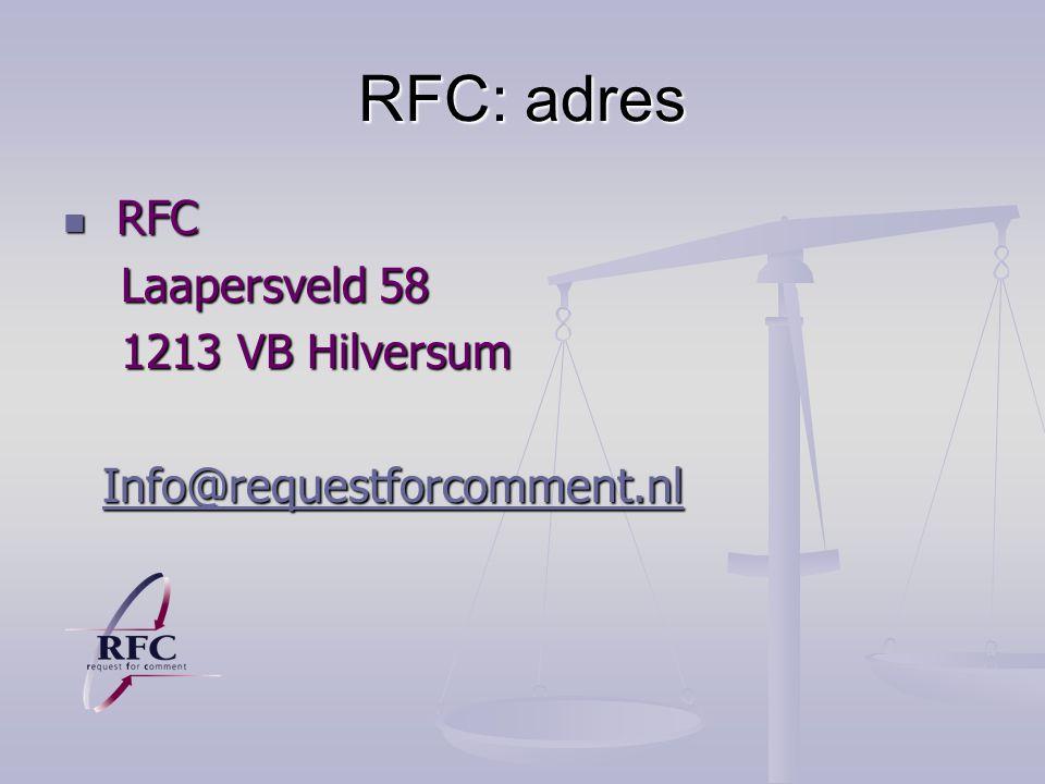 RFC: adres RFC Laapersveld 58 1213 VB Hilversum