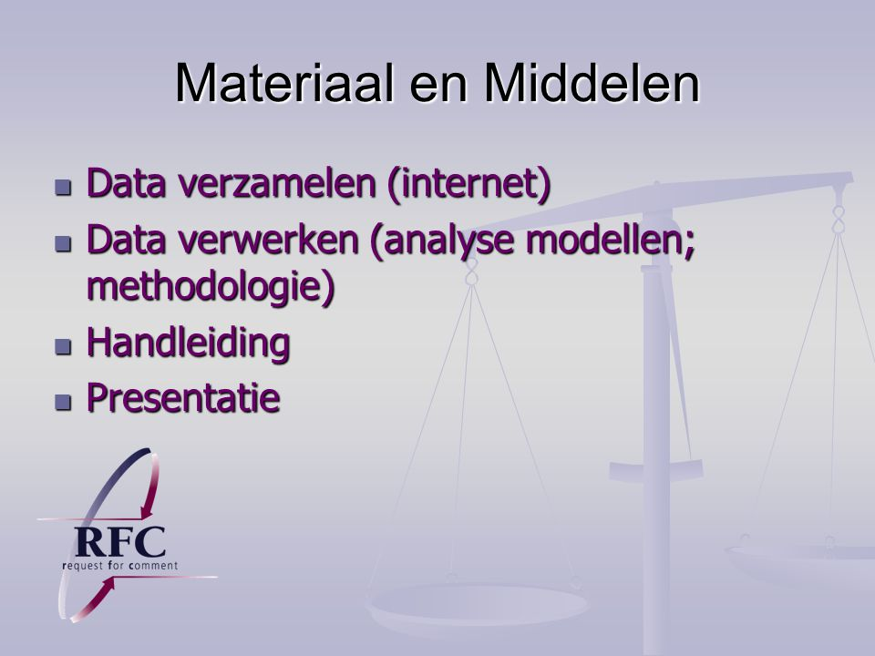 Materiaal en Middelen Data verzamelen (internet)