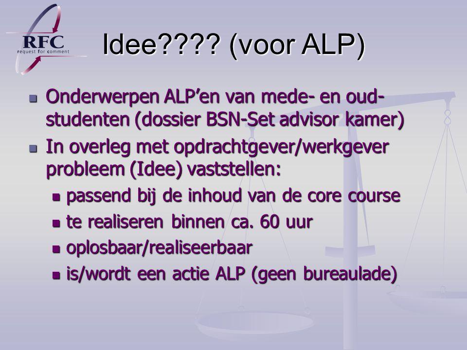 Idee (voor ALP) Onderwerpen ALP'en van mede- en oud-studenten (dossier BSN-Set advisor kamer)