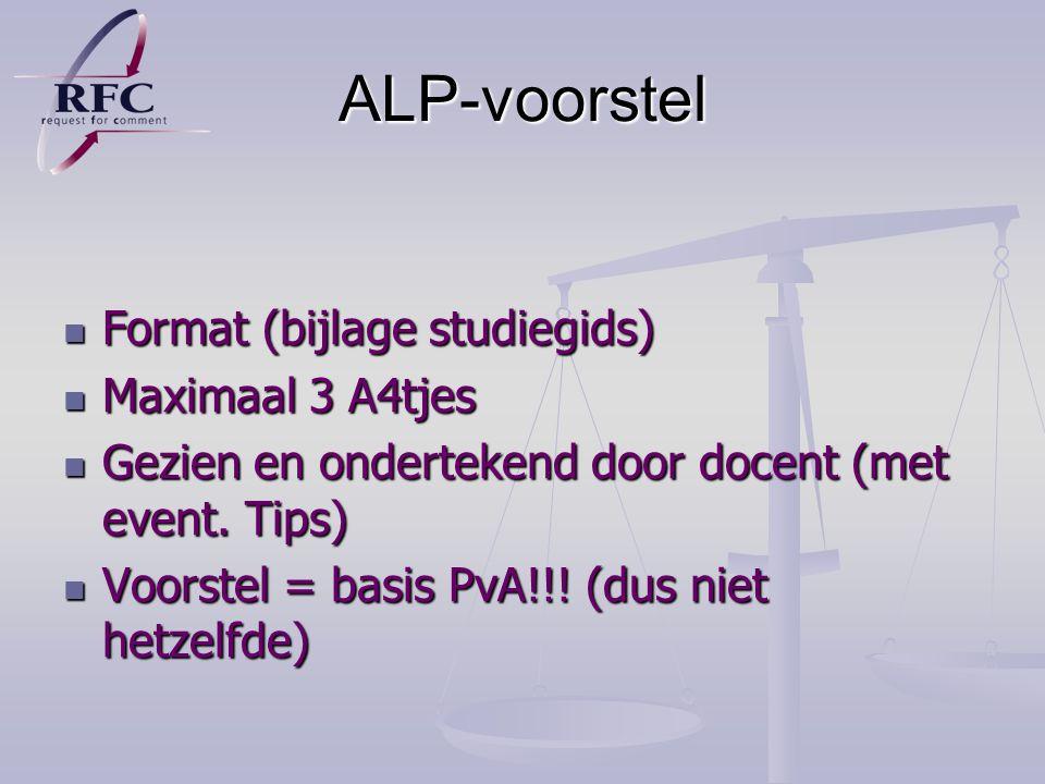 ALP-voorstel Format (bijlage studiegids) Maximaal 3 A4tjes