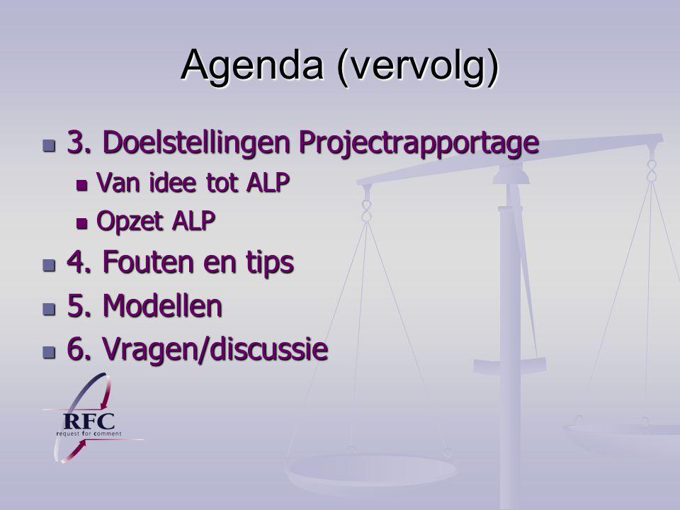 Agenda (vervolg) 3. Doelstellingen Projectrapportage 4. Fouten en tips