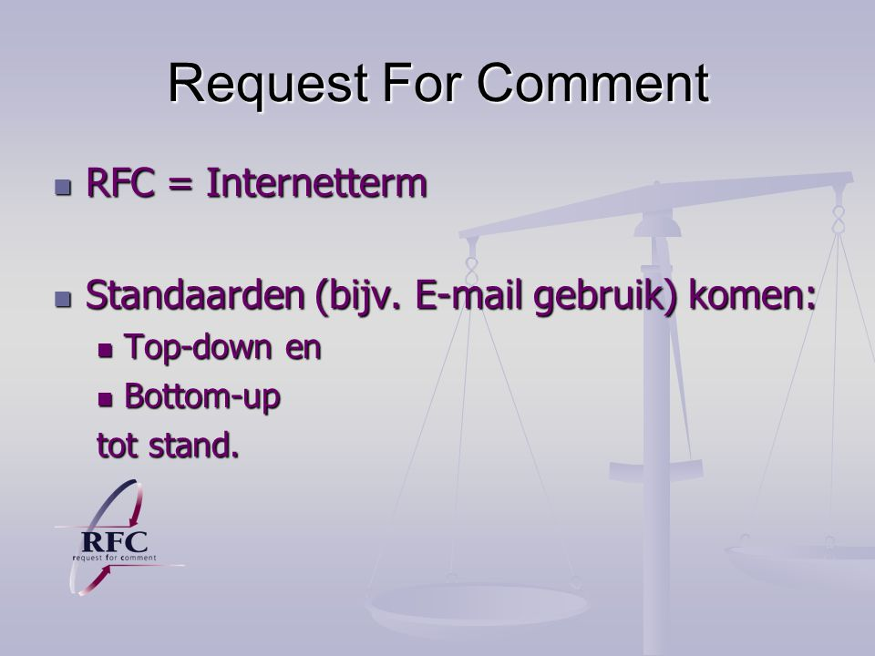Request For Comment RFC = Internetterm
