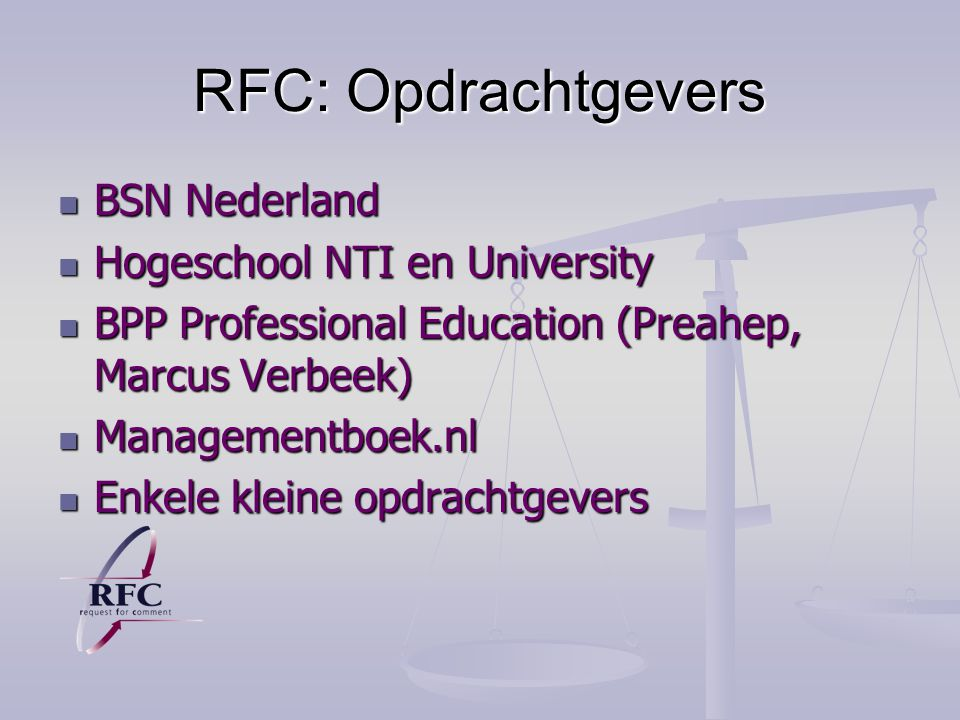 RFC: Opdrachtgevers BSN Nederland Hogeschool NTI en University