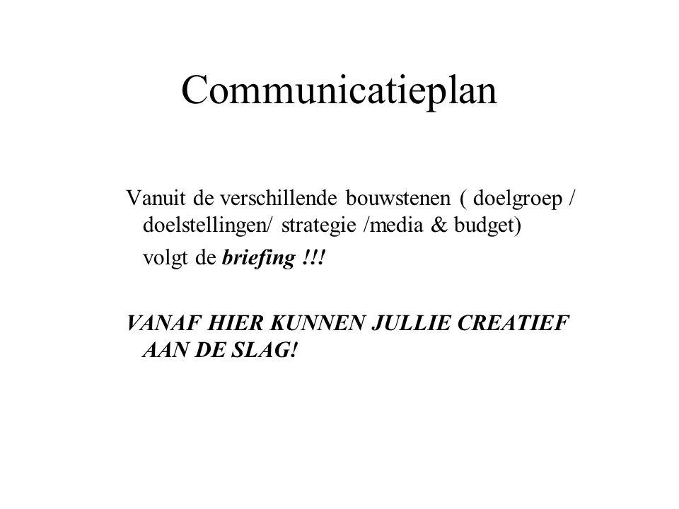 Communicatieplan Vanuit de verschillende bouwstenen ( doelgroep / doelstellingen/ strategie /media & budget)