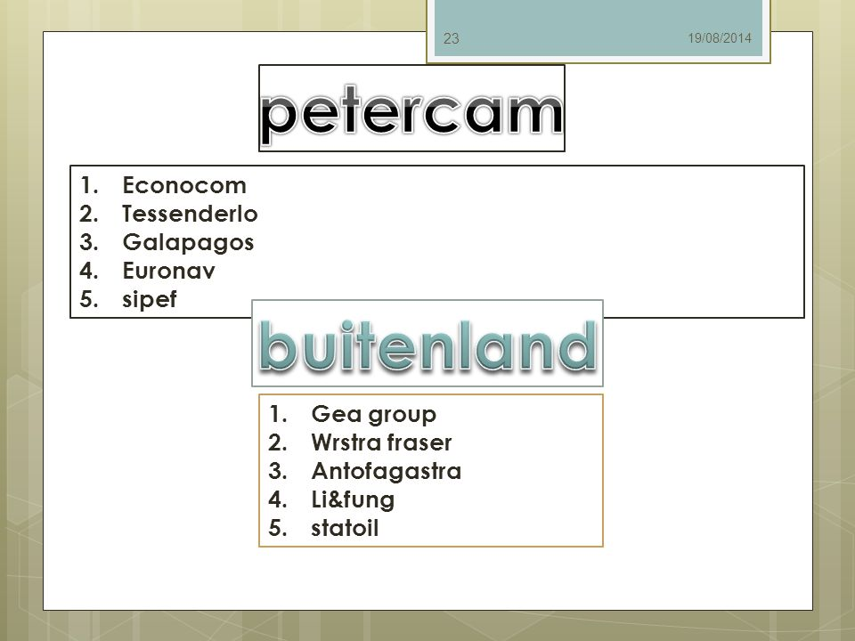 petercam buitenland Econocom Tessenderlo Galapagos Euronav sipef