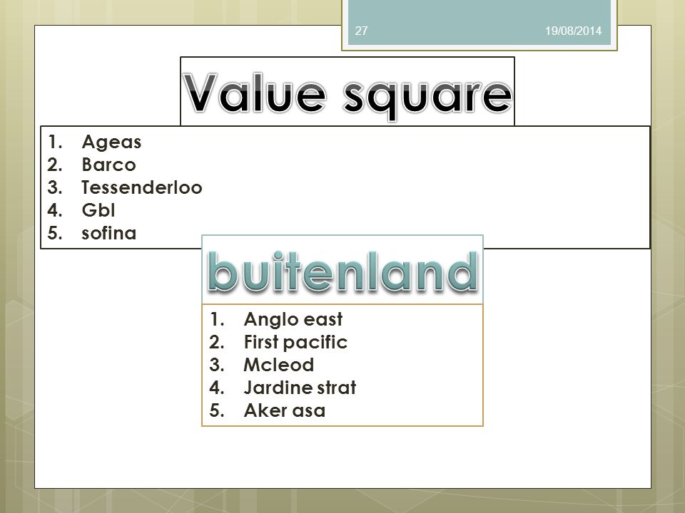 Value square buitenland
