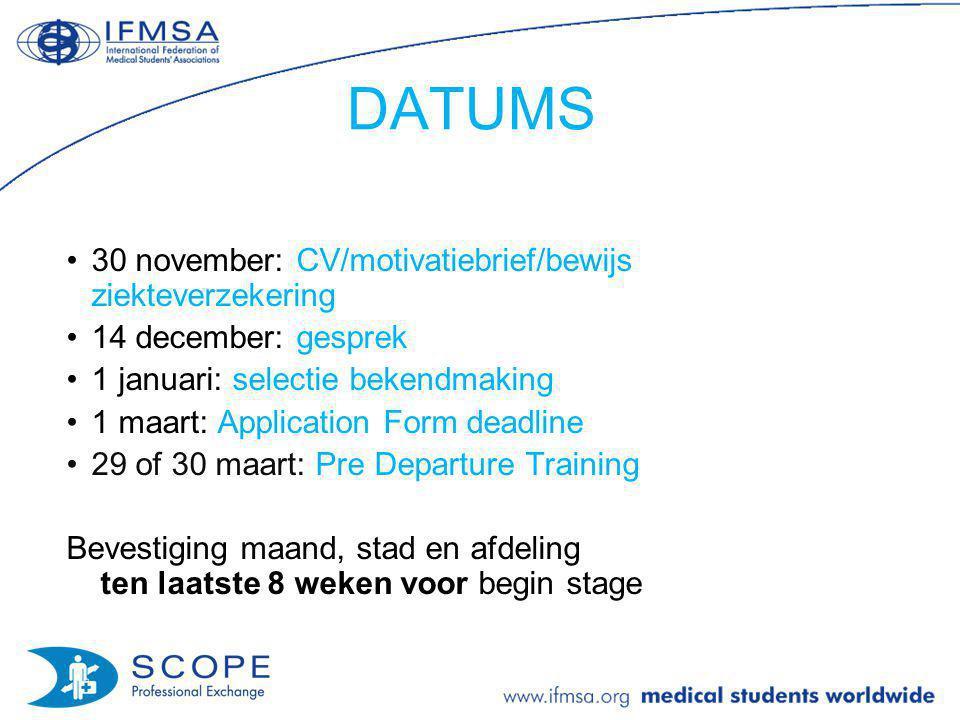 DATUMS 30 november: CV/motivatiebrief/bewijs ziekteverzekering