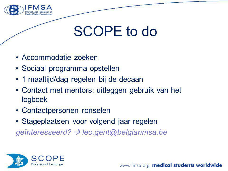 SCOPE to do Accommodatie zoeken Sociaal programma opstellen