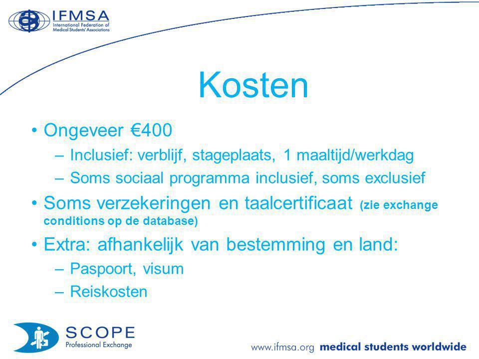 Kosten Ongeveer €400. Inclusief: verblijf, stageplaats, 1 maaltijd/werkdag. Soms sociaal programma inclusief, soms exclusief.
