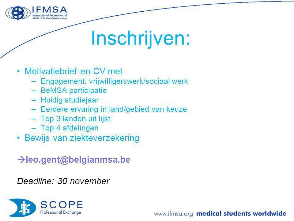 Inschrijven: Motivatiebrief en CV met Bewijs van ziekteverzekering