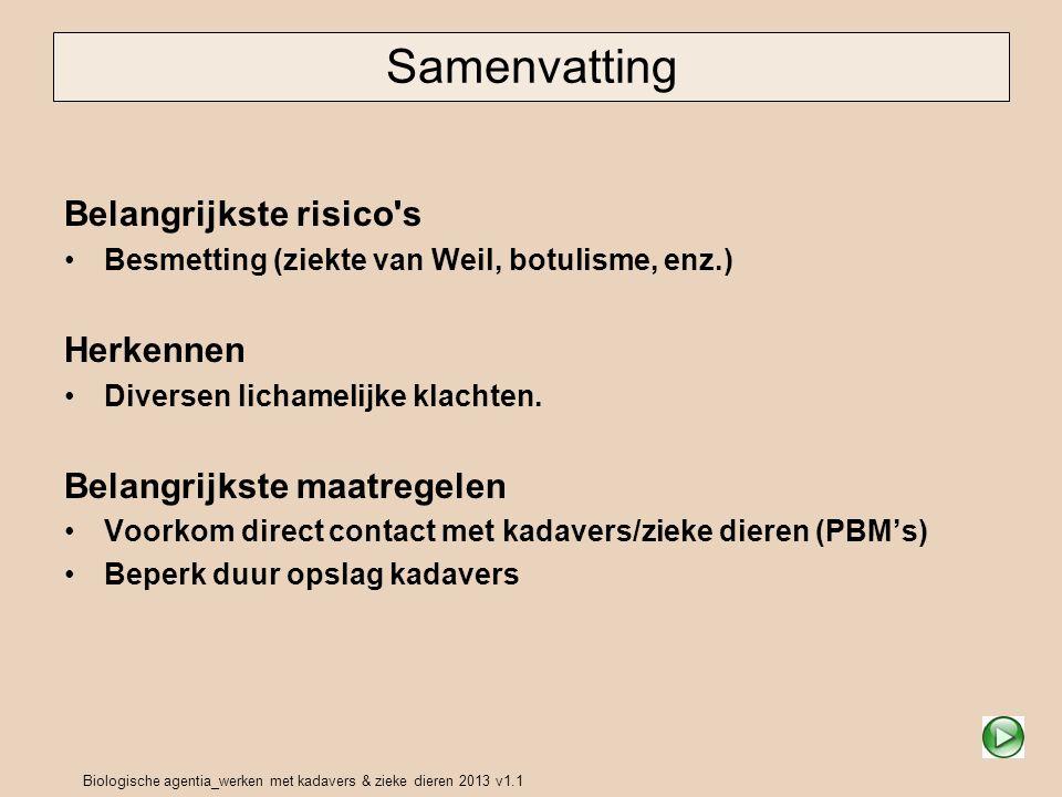 Biologische agentia_werken met kadavers & zieke dieren 2013 v1.1