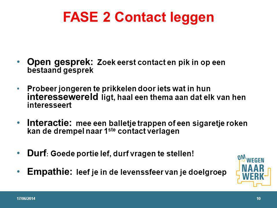 FASE 2 Contact leggen Open gesprek: Zoek eerst contact en pik in op een bestaand gesprek.