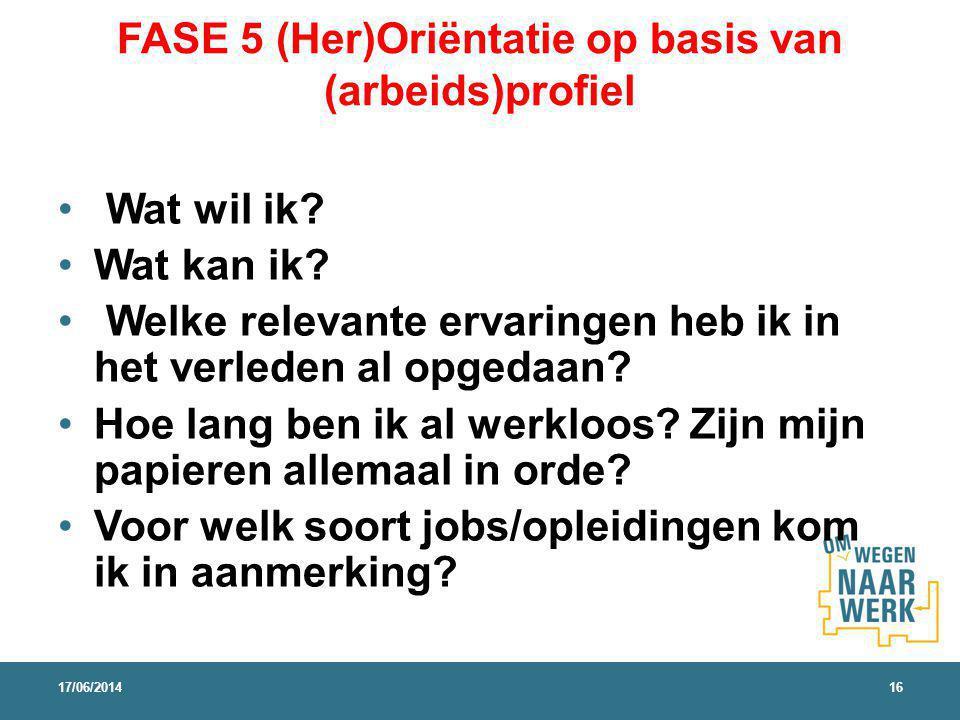 FASE 5 (Her)Oriëntatie op basis van (arbeids)profiel