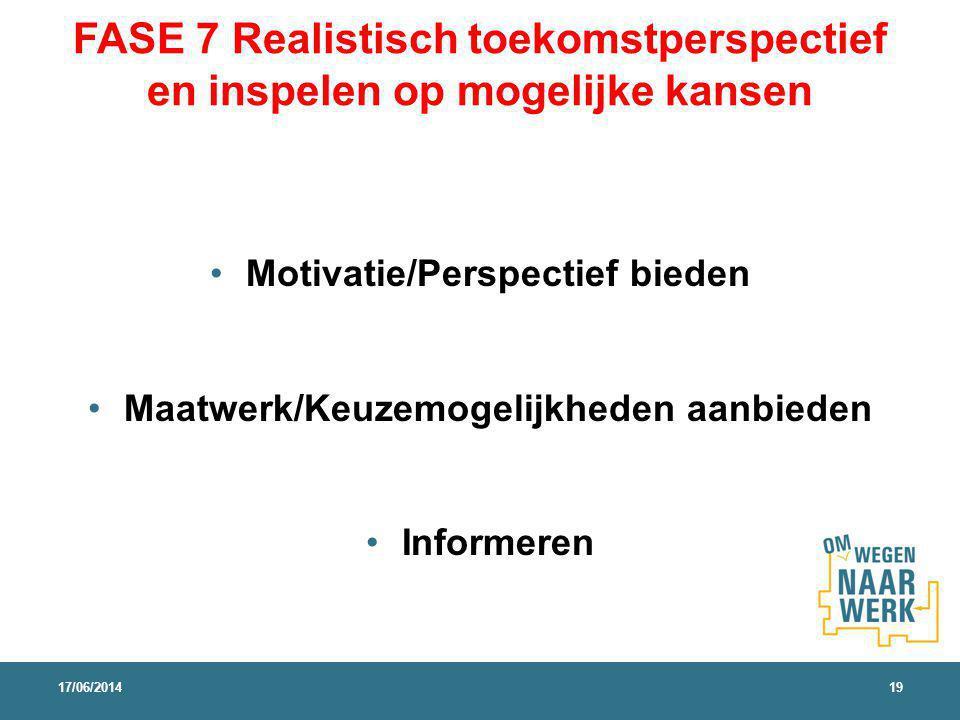 FASE 7 Realistisch toekomstperspectief en inspelen op mogelijke kansen