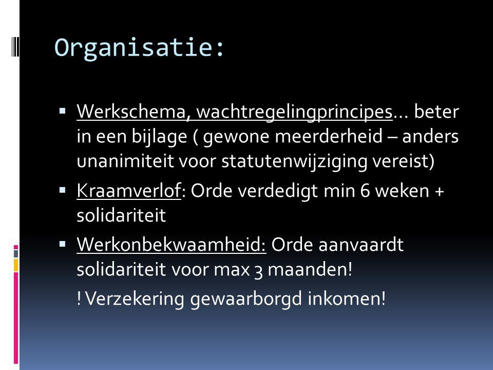 Organisatie: Werkschema, wachtregelingprincipes… beter in een bijlage ( gewone meerderheid – anders unanimiteit voor statutenwijziging vereist)