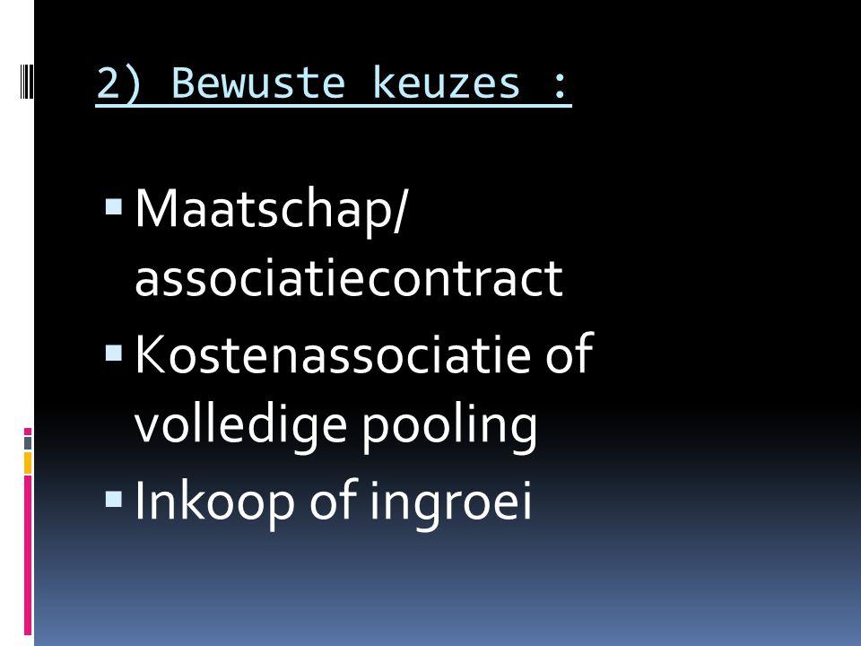 Maatschap/ associatiecontract Kostenassociatie of volledige pooling